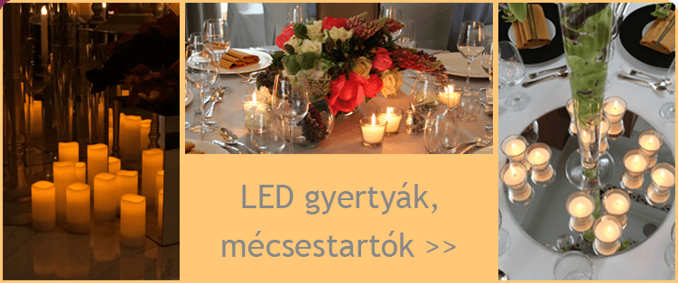 LED gyertyák, mécsestartók kölcsönzése