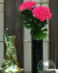 Fekete cilinder váza - közepes